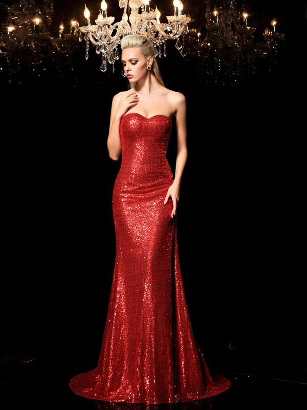 Graceful Sheath Sweetheart Cut Sequins Long Dresses With Sequin