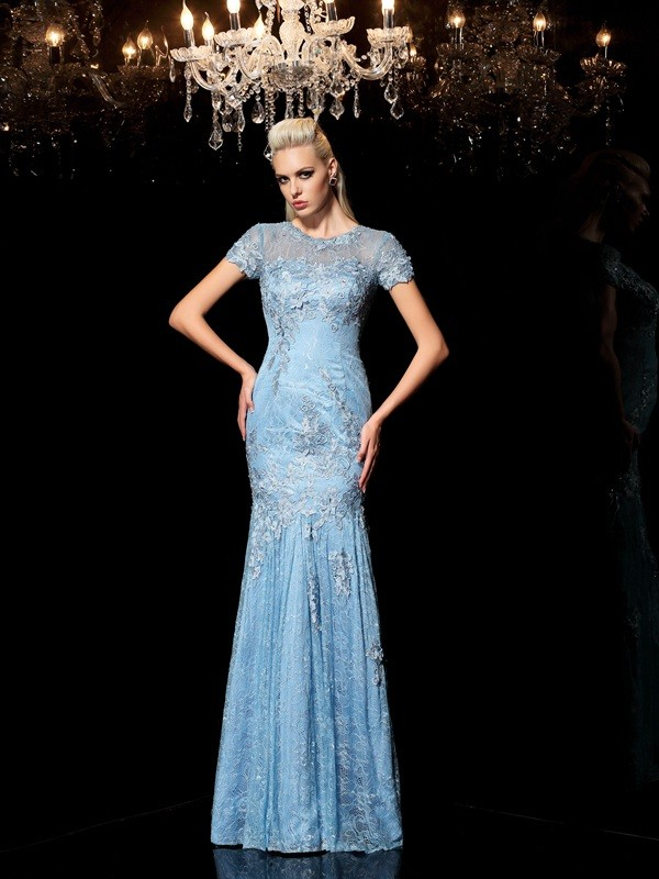 Lovely Sheath Sheer Neck Cut Lace Long Dresses With Applique