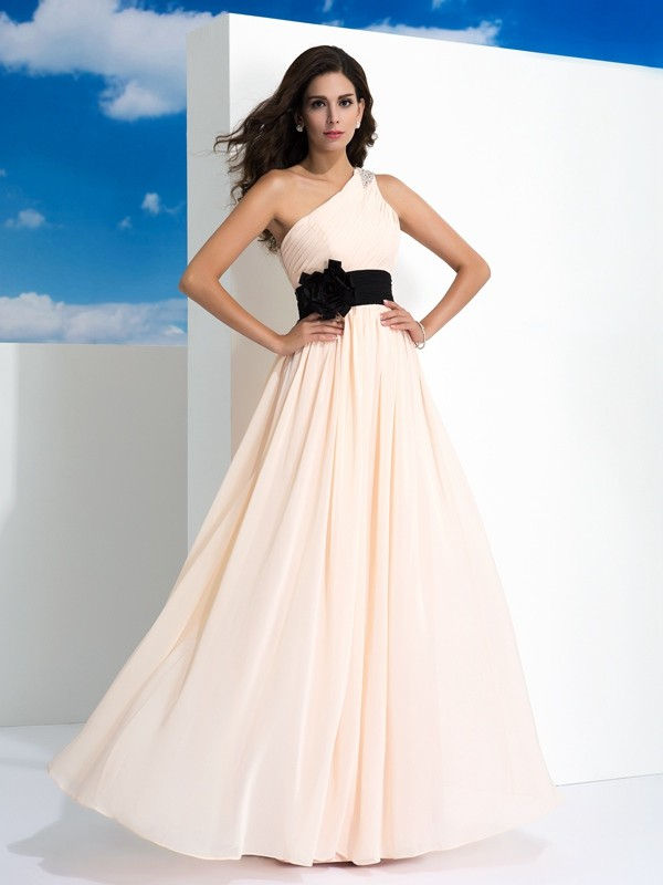 Shining A-Line One-Shoulder Cut Chiffon Long Dresses With Sash/Ribbon/Belt