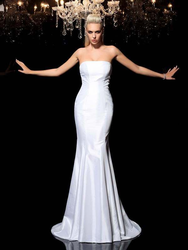 Special Sheath Strapless Cut Satin Long Dresses With Ruffles