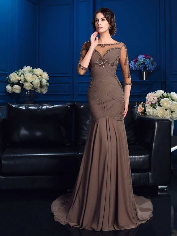 Modern Sheath Scoop Cut Chiffon Long Mother of the Bride Dresses With Beading