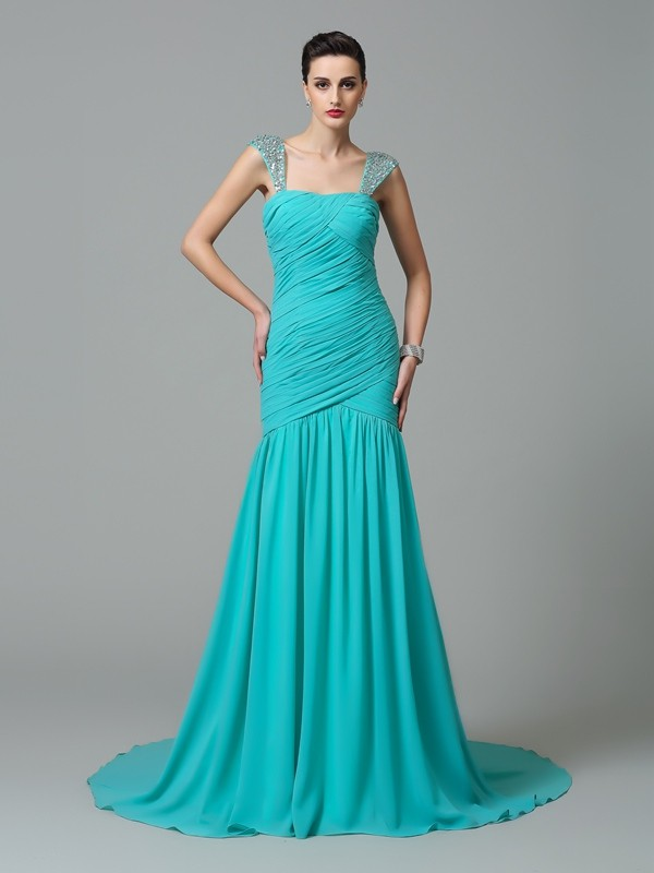 Radiant A-Line Straps Cut Chiffon Long Dresses With Ruched