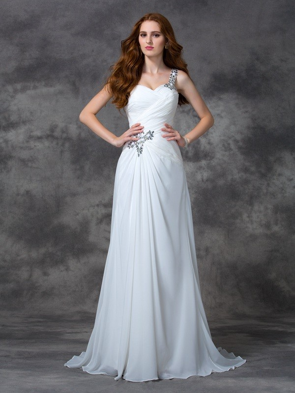Smart A-Line One-Shoulder Cut Chiffon Long Dresses With Beading