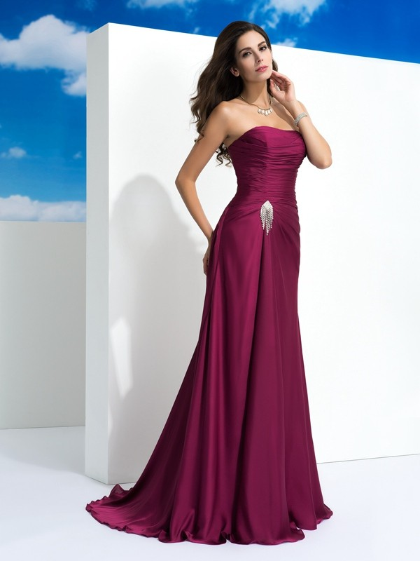 Chic A-Line Strapless Cut Satin Chiffon Long Dresses With Pleats