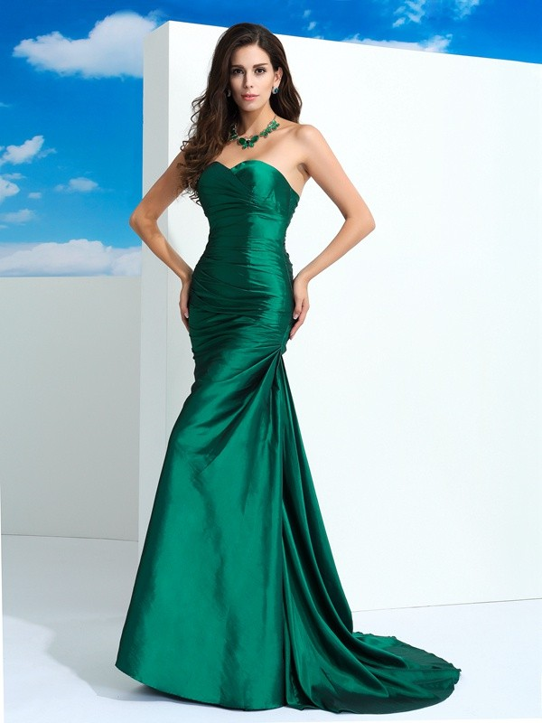 Stylish Sheath Sweetheart Cut Taffeta Long Dresses With Pleats