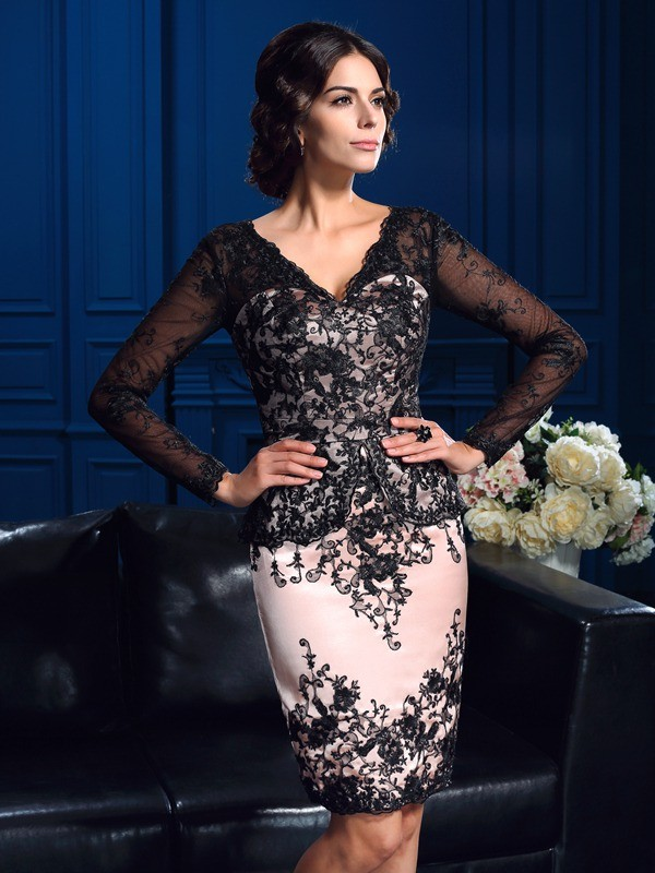 Fashional Sheath V-neck Cut Lace Short Mother of the Bride Dresses With Applique