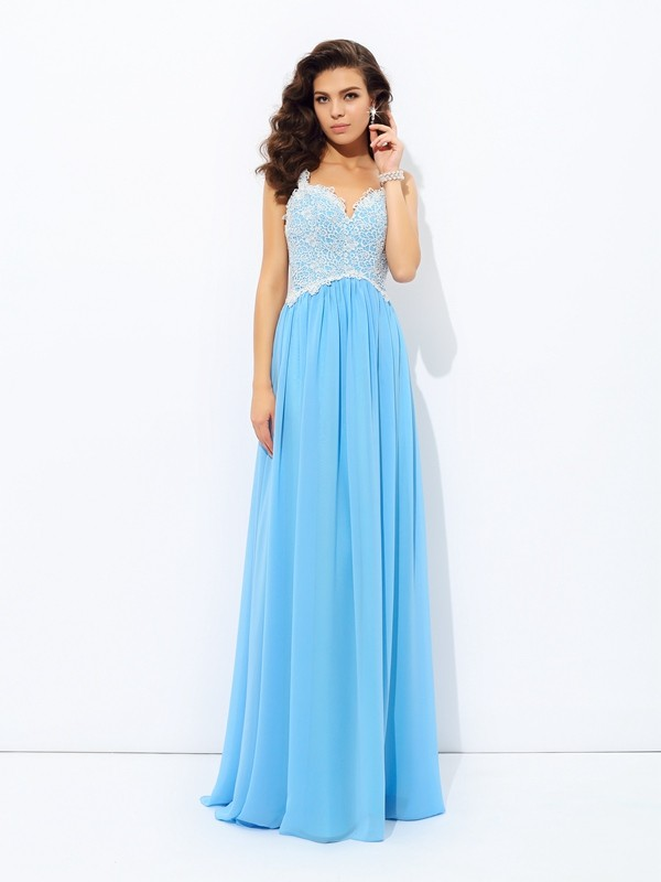 Bright A-Line V-neck Cut Chiffon Long Dresses With Lace