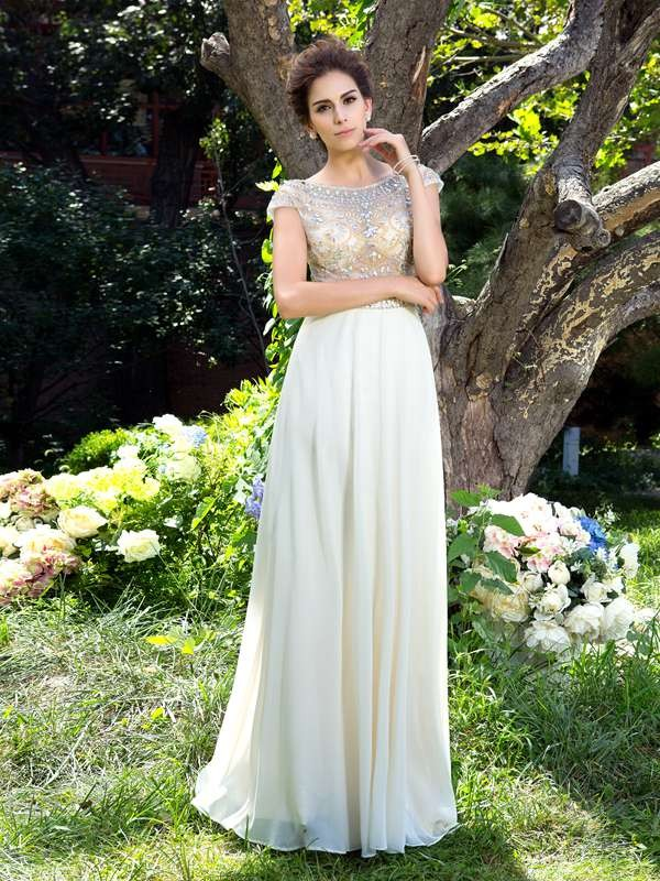 Dreamlike A-Line Sheer Neck Cut Chiffon Long Dresses With Rhinestone