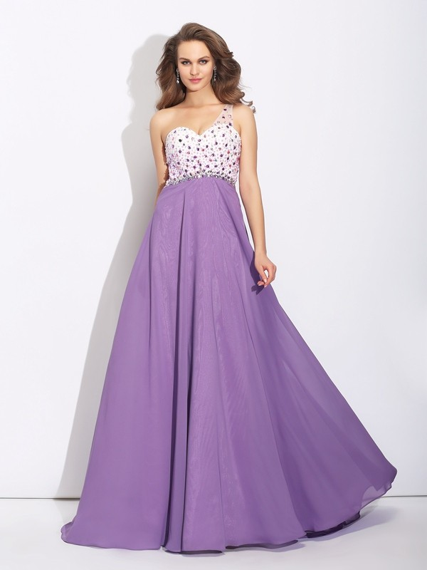 Smart A-Line One-Shoulder Cut Chiffon Long Dresses With Crystal