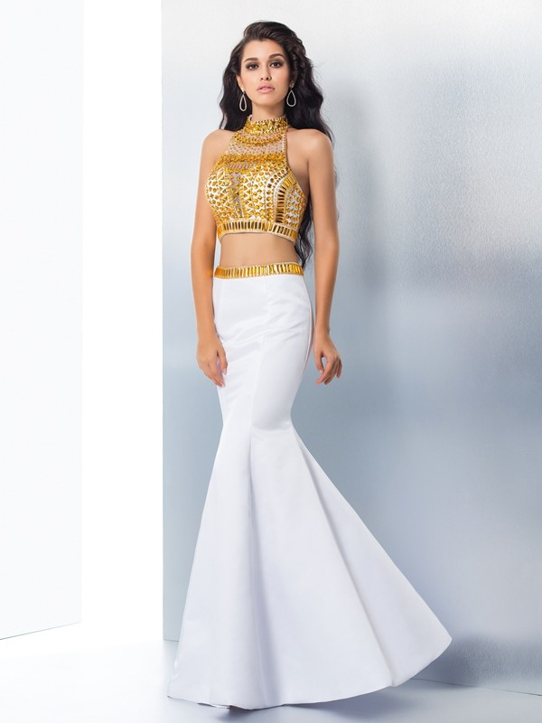 Chic Mermaid High Neck Cut Satin Long Two Piece Dresses With Beading