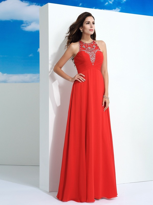 Hot A-Line Sheer Neck Cut Chiffon Long Dresses With Beading