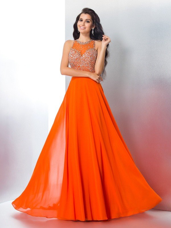 Popular Mermaid Scoop Cut Chiffon Long Dresses With Beading