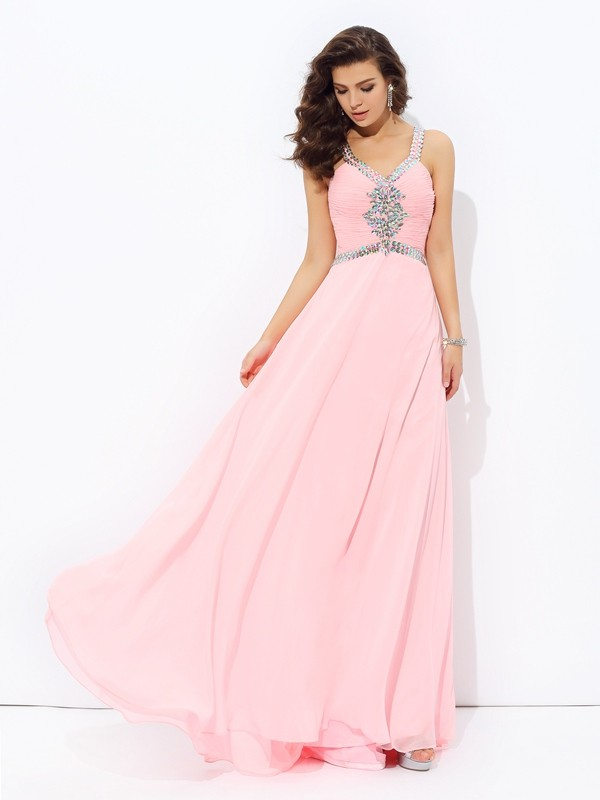 Trendy A-Line Straps Cut Chiffon Long Dresses With Beading