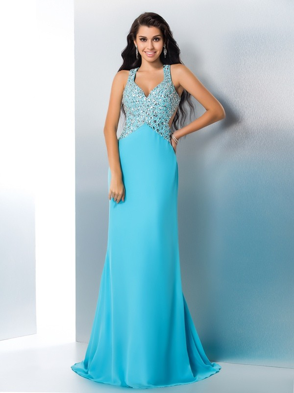 Gorgeous A-Line Straps Cut Chiffon Long Dresses With Beading