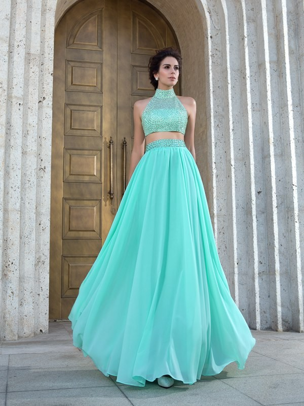 Elegant A-Line High Neck Cut Chiffon Long Two Piece Dresses With Beading