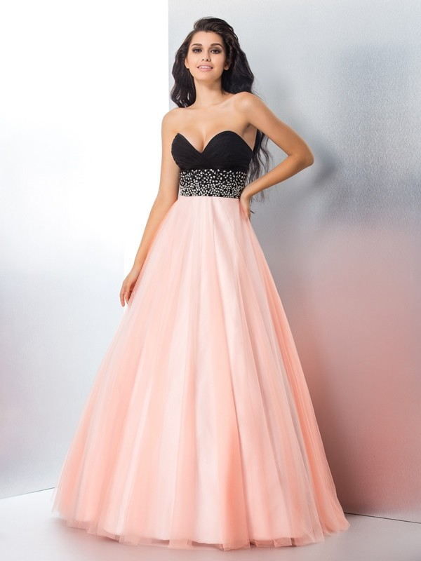 Awesome Ball Gown Sweetheart Cut Satin Long Dresses With Beading
