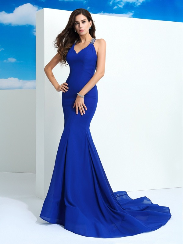 Amazing Sheath Straps Cut Chiffon Long Dresses With Beading