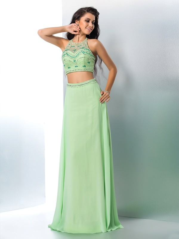 Graceful A-Line Halter Cut Chiffon Long Two Piece Dresses With Beading