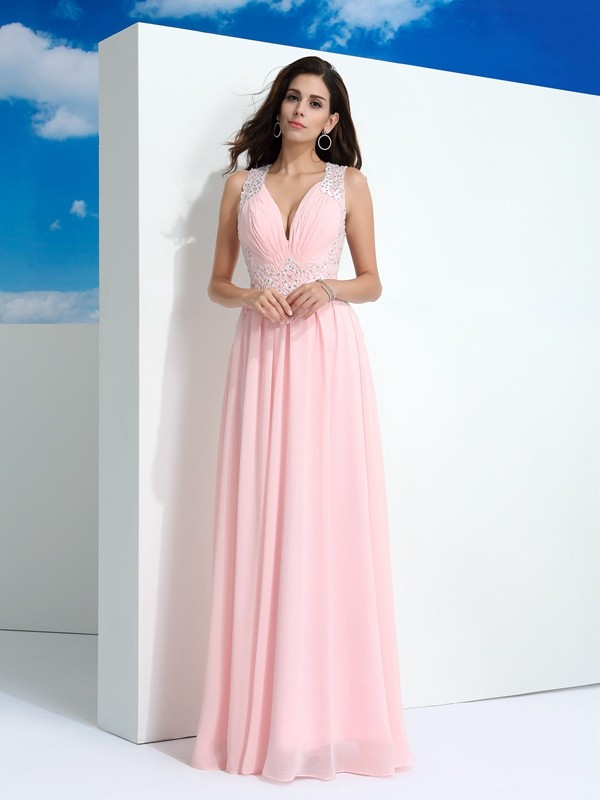 Stunning A-Line Straps Cut Chiffon Long Dresses With Beading