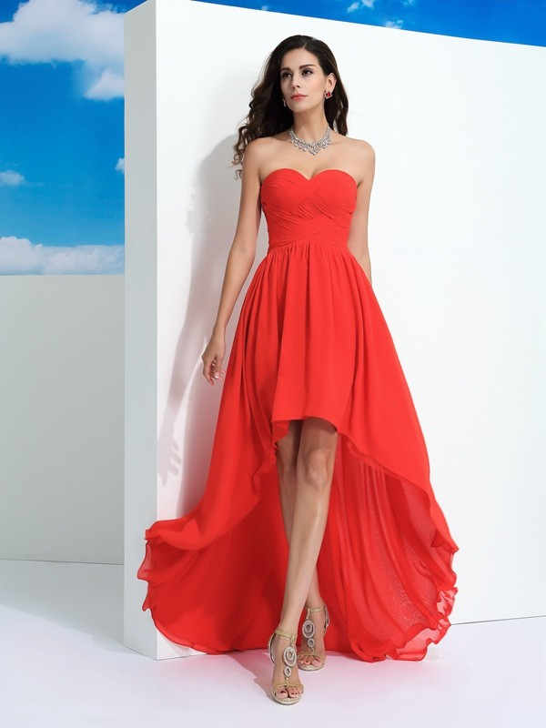 c1923b5121f6 Romantic A-Line Sweetheart Cut Chiffon High Low Dresses With Pleats