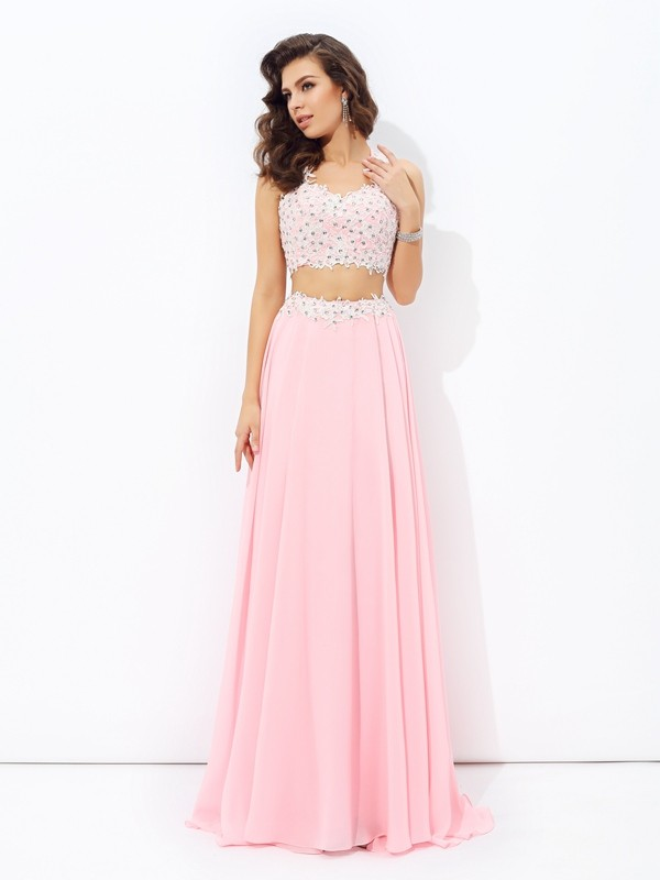 Shining A-Line Straps Cut Chiffon Long Two Piece Dresses With Applique