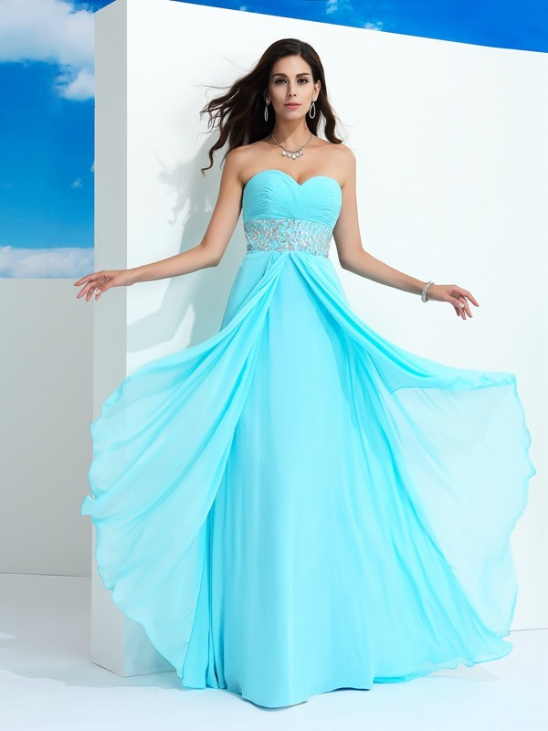 Attractive A-Line Sweetheart Cut Chiffon Long Dresses With Beading