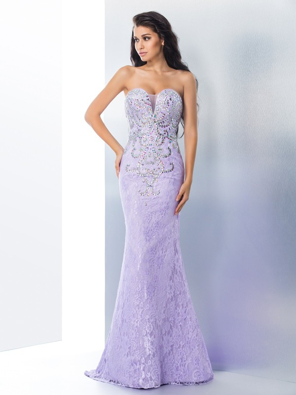 Special Mermaid Sweetheart Cut Lace Long Dresses With Beading