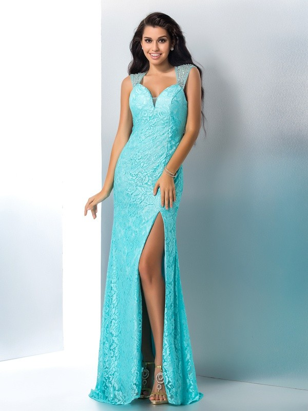Delicate Mermaid Sweetheart Cut Lace Long Dresses With Beading