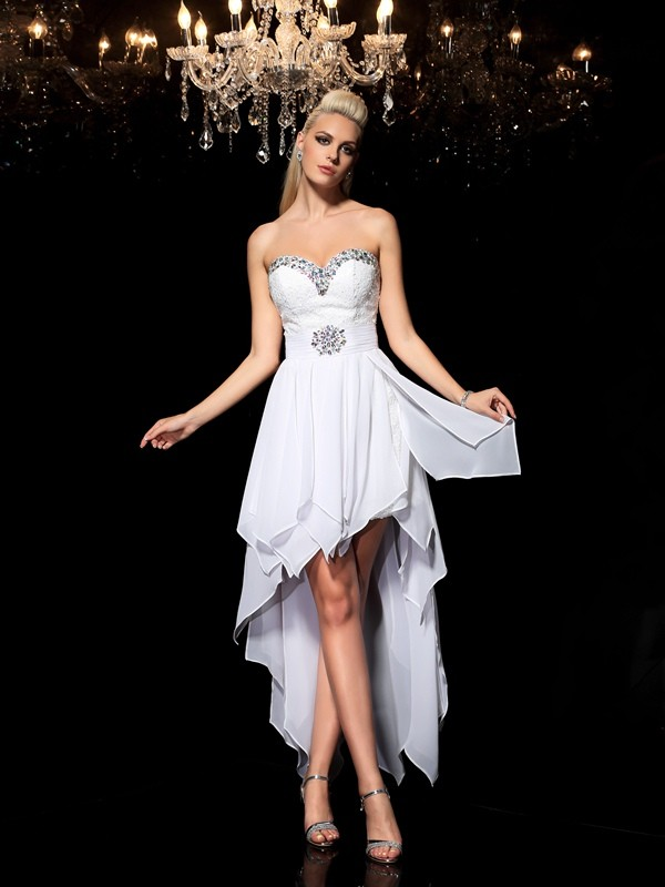 Bright A-Line Sweetheart Cut Chiffon High Low Dresses With Beading