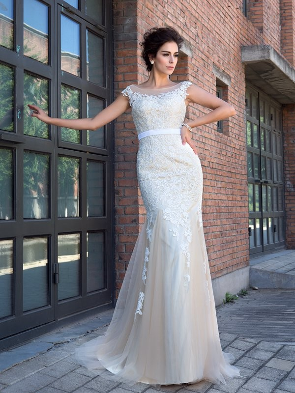 Brilliant Mermaid Sheer Neck Cut Net Long Dresses With Applique