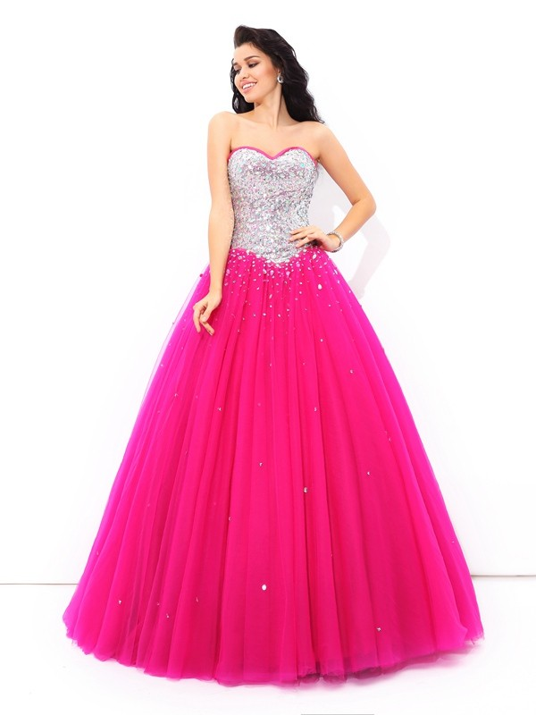 Modern Ball Gown Sweetheart Cut Satin Long Dresses With Beading