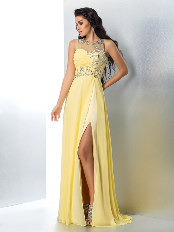Soft A-Line Sheer Neck Cut Chiffon Long Dresses With Beading