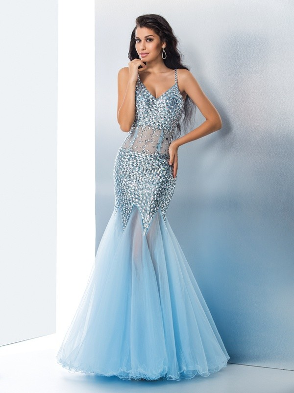 Sweet Mermaid Spaghetti Straps Cut Tulle Long Dresses With Sequin