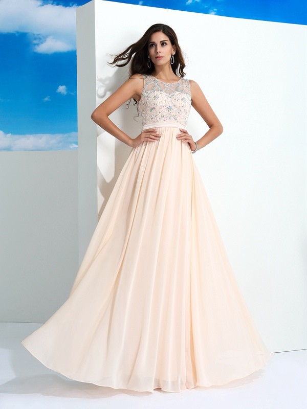 Popular A-Line Sheer Neck Cut Chiffon Long Dresses With Beading
