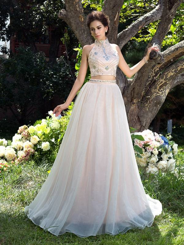 Gorgeous A-Line High Neck Cut Net Long Two Piece Dresses With Beading