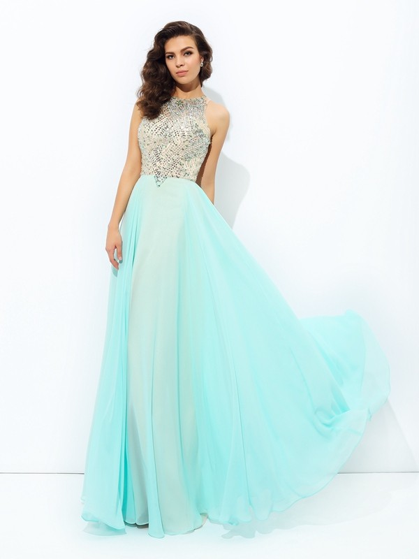 Charming A-Line Jewel Cut Chiffon Long Dresses With Beading