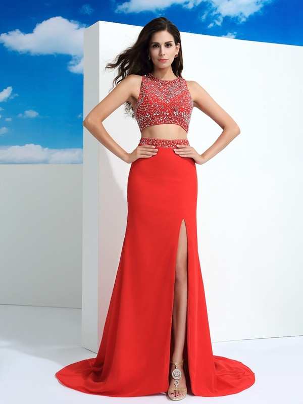 Exquisite Sheath Scoop Cut Chiffon Long Two Piece Dresses With Beading