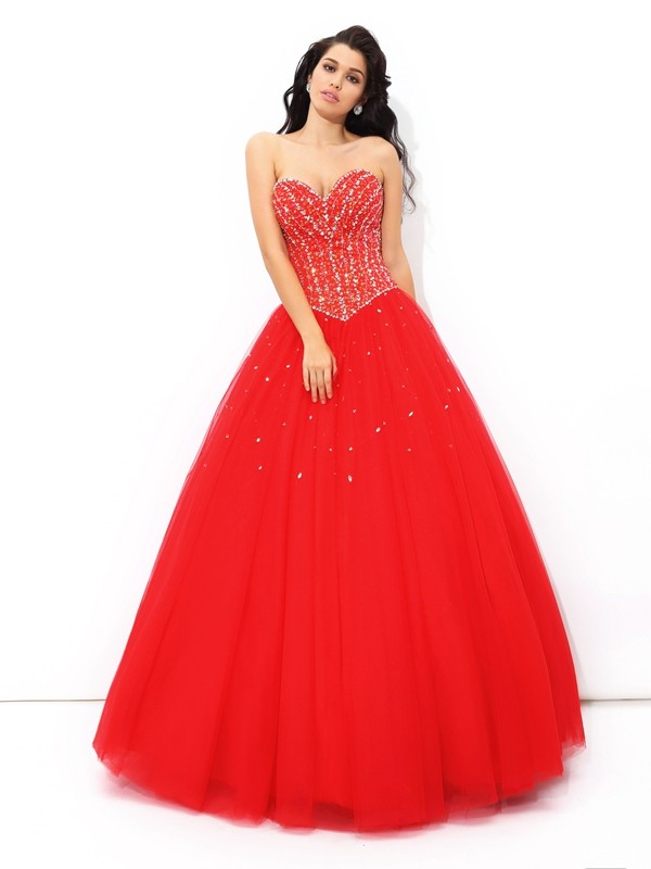 Amazing Ball Gown Sweetheart Cut Net Long Dresses With Beading