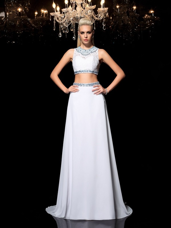 Lovely A-Line Jewel Cut Chiffon Long Two Piece Dresses With Beading