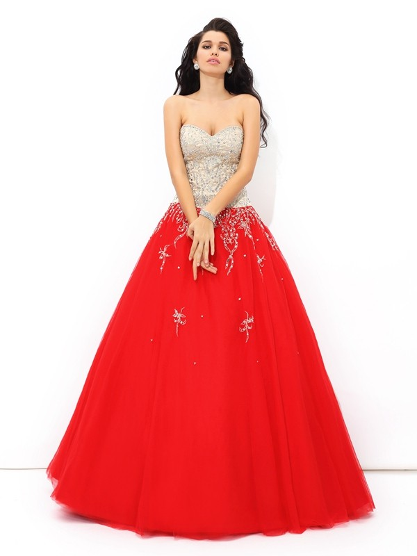 Shining Ball Gown Sweetheart Cut Satin Long Dresses With Beading