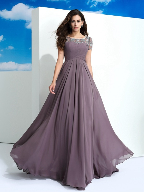 Delicate A-Line Sheer Neck Cut Chiffon Long Dresses With Beading