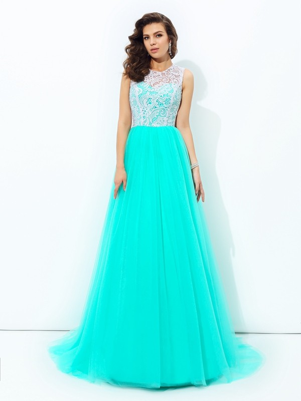 Dreamlike A-Line Scoop Cut Net Long Dresses With Lace