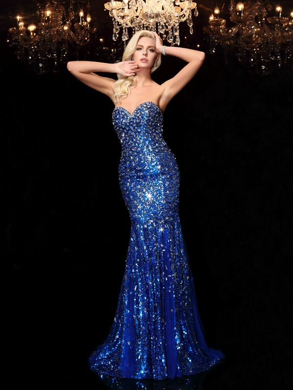 Brilliant Mermaid Sweetheart Cut Sequins Long Dresses With Sequin