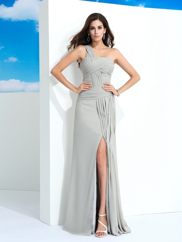 Sweet Sheath One-Shoulder Cut Chiffon Long Dresses With Pleats