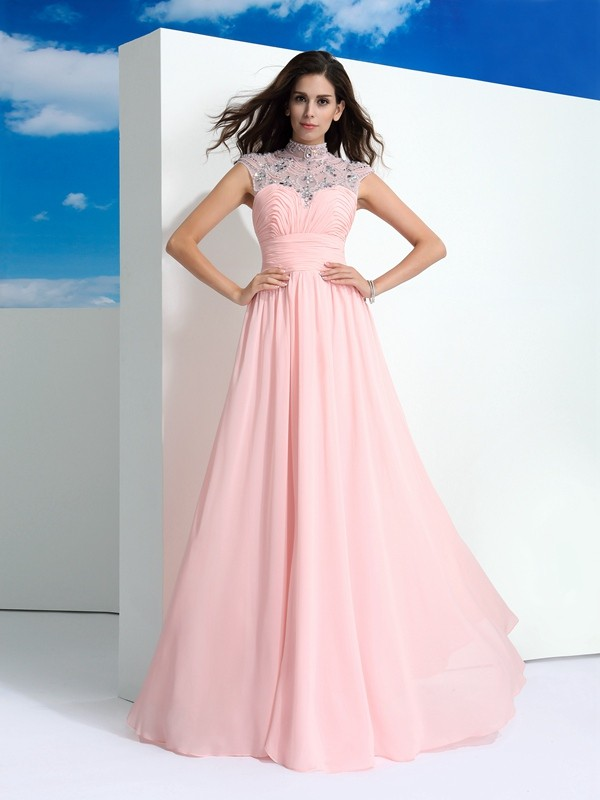 Glamorous A-Line Sheer Neck Cut Chiffon Long Dresses With Beading