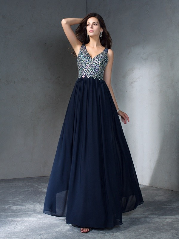 Gorgeous A-Line V-neck Cut Chiffon Long Dresses With Beading