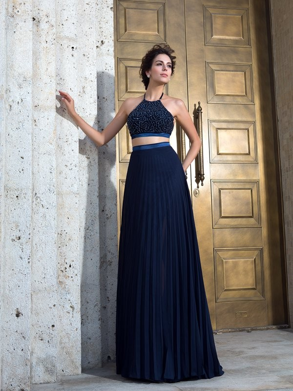 Awesome A-Line Spaghetti Straps Cut Chiffon Long Two Piece Dresses With Pleats