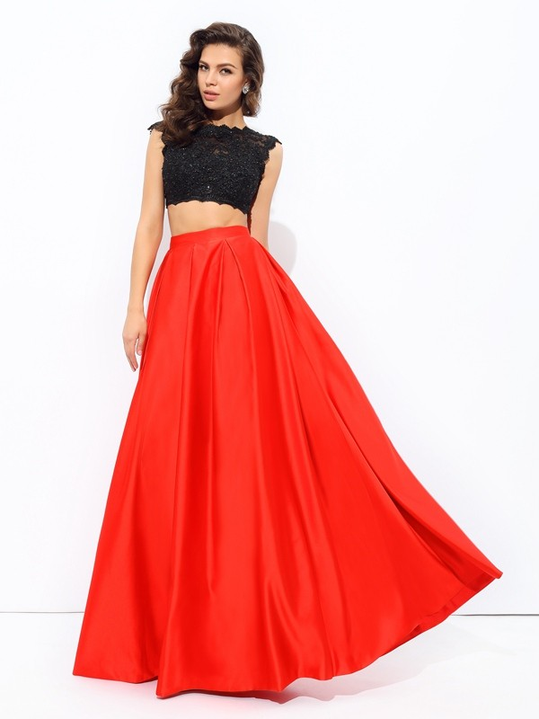 Exquisite A-Line Scoop Cut Satin Long Two Piece Dresses With Lace
