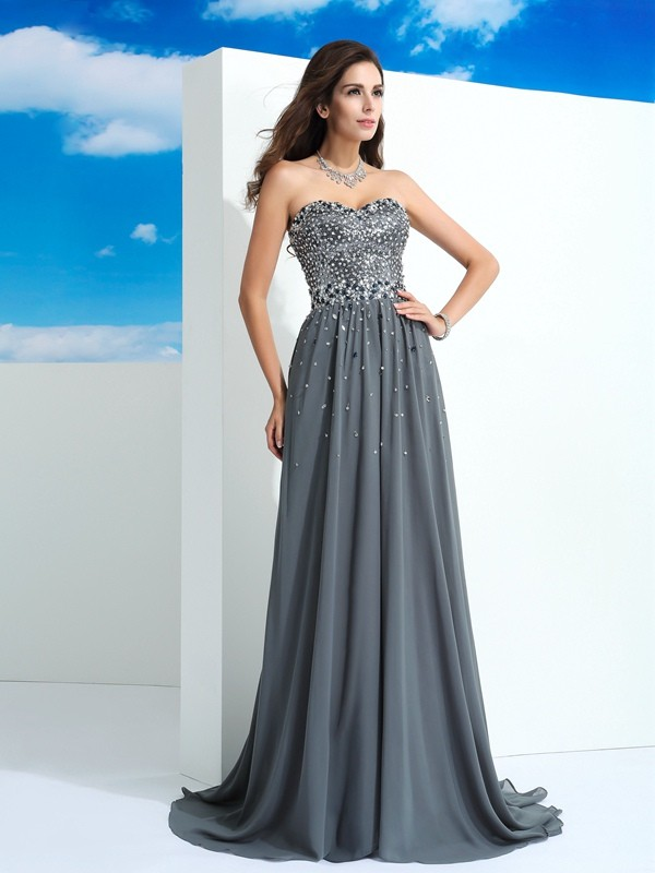 Graceful A-Line Sweetheart Cut Chiffon Long Dresses With Beading