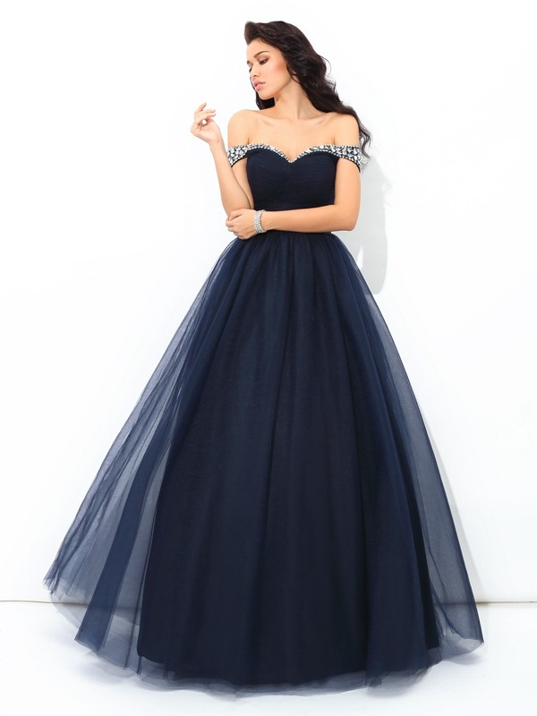 Shining Ball Gown Off-the-Shoulder Cut Net Long Dresses With Beading